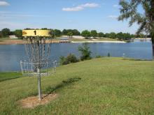 A disc basket with the lake in the background.