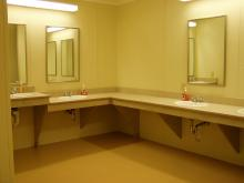Sinks and mirrors in the bathroom.