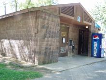 Close up view of restrooms at Incahias Campground.