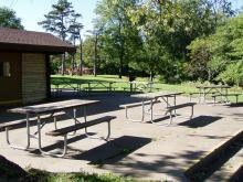 Outdoor seating at Whispering Pines.