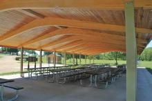 View from inside picnic shelter.