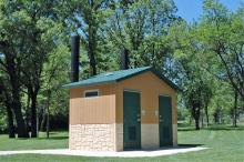 Non-modern restroom located near Cody Lake shelter.