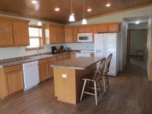 The kitchen area at the Summit Cabin.