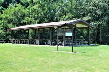 Picnic shelter and playground equipment.