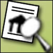 Cartoon image of a magnifying glass over a property report.