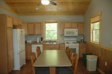 Kitchen view of Ketstrel cabin.