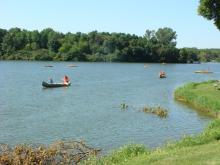 kayak in the water.