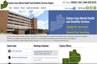 Screen capture of the Eastern Iowa MHDS website.