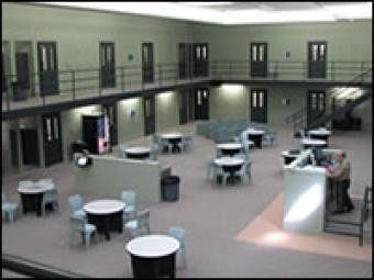 View of the housing unit of Scott County Jail.
