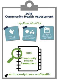 Clipboard with 2018 Community Health ASsessment top needs