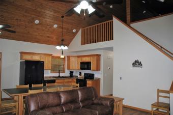 Bald eagle Loft Cabin's living area and kitchen.