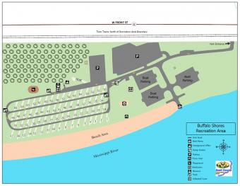 Graphical map of Buffalo Shores Campground.