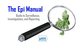 Title of Epi Manual and image of magnifying glass looking at a virus