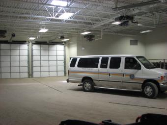 A transport van in the jail sally port.