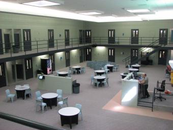 A housing unit at the Scott County Jail.
