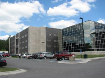 Parking lot level view of the Scott County Jail.