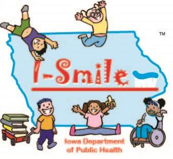I-Smile toothbrush logo over the state of Iowa with happy children playing