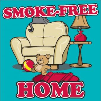 "Cartoon images of a sofa chair next to table and lamp with home accoutrements. Text reading ""Smoke-Free Home""."