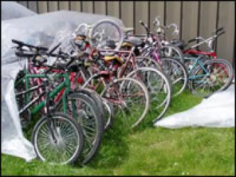 A row of bicycle.