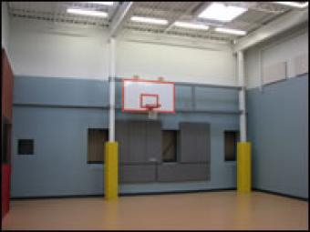A basketball hoop in the JDC gym.