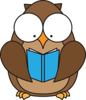 This is an owl holding a book.