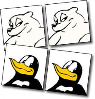Sample photos of cartoon bear and penguin.