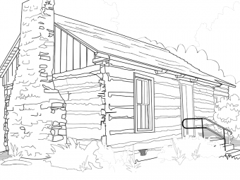 Outline drawing of a pioneer cabin.