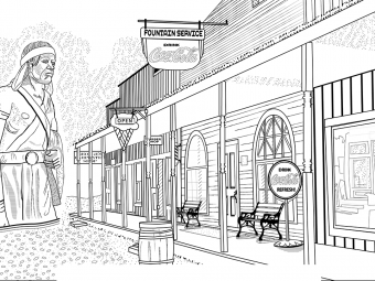 Outline drawing of part of main street at Pioneer Village.