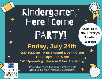 """Chalkboard with """"Kindergarten Here I Come Party"""" and other event information"""
