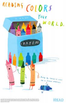 """Illustrations of crayons and crayon box with words """"reading colors your world"""""""