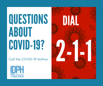 "infographic stating ""questions about covid-19? dial 2-1-1"