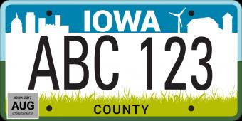 Iowa license plate design.