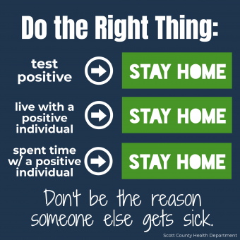 Infographic - test positive? stay home. live with someone who is positive? stay home.