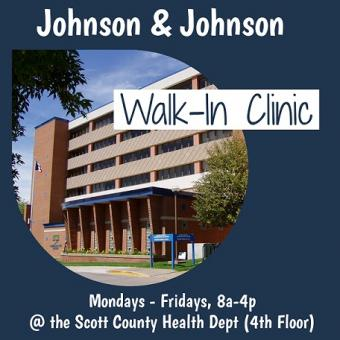 Johnson & Johnson walk-in clinic message with pic of health department building