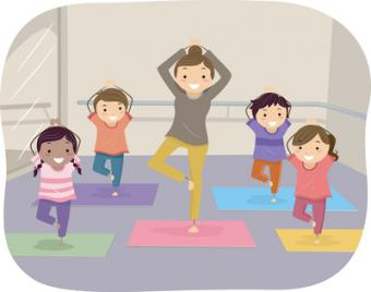 Illustration of Kids Learning Yoga Through the Help of an Instructor