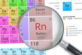 Periodic table with the element radon seen through a magnifying glass