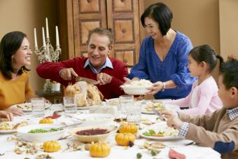 This is a picture of a family celebrating Thanksgiving