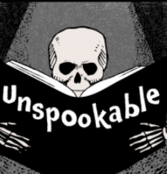 Logo for the Unspookable podcast--skeleton reading a book