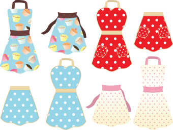 This a set of retro styled cooking aprons with cupcake and polka dot designs