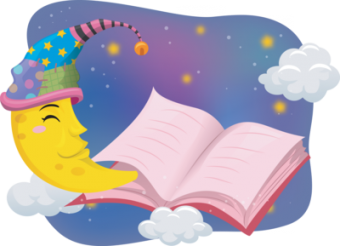 Illustration of the Moon Wearing a Nightcap While Reading a Book