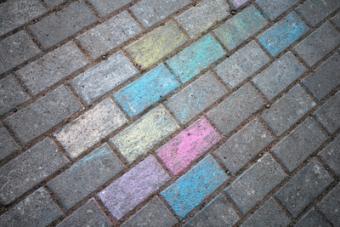 Chalk painted road pavement