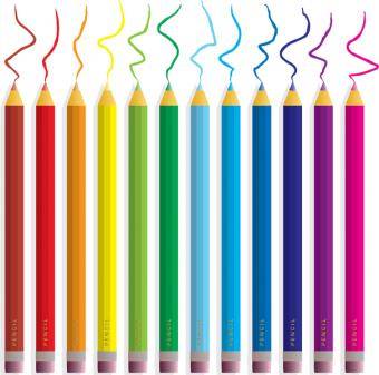 Colored pencils in a row with scribbles