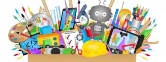 Art, engineering, and makerspace supplies grouped together with a robot