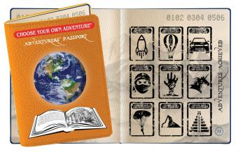 Image of a Choose Your Own Adventure book series passport; orange cover with globe on top of an open book.