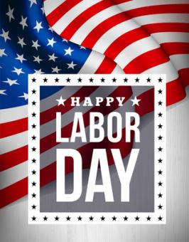 This is a flag with the words Happy Labor Day over it.