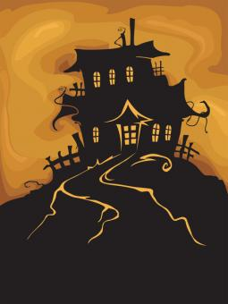 Silhouette of a haunted house on a hill, with an orange sky