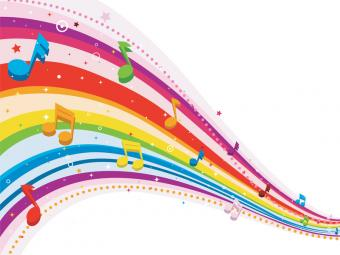 Rainbow design with musical notes
