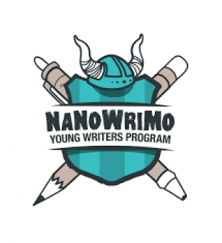 Badge with pen and pencil for National Novel Writing Month Young Writers Program