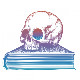 Colorful sketch of human skull on book isolated on white background