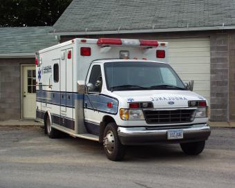 Wheatland ambulance from front.